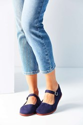 Urban Outfitters Cotton Mary Jane Flat Navy