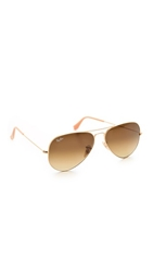 Ray Ban Matte Classic Aviator Sunglasses Matte Gold Gradient Brown