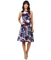 Adrianna Papell Tea Length Pleated Fit And Flare Purple Multi Women's Dress