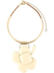 Marni Flower Necklace Nude And Neutrals