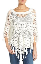 Women's Wit And Wisdom 'Daisy' Cotton Crochet Poncho Nordstrom Exclusive