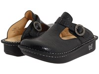 Alegria Classic Black Emboss Rose Leather Women's Clog Shoes