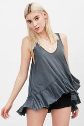 Truly Madly Deeply Ballerina Ruffle Tank Top Grey