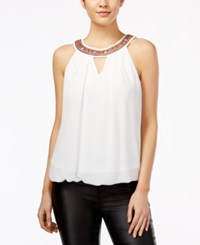Amy Byer Bcx Juniors' Sleeveless Embellished Blouse White