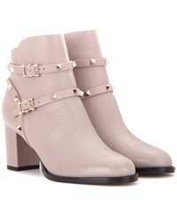 Valentino Rockstud Leather Ankle Boots Pink