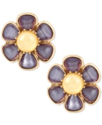 Betsey Johnson Gold Tone Purple And Yellow Stone Flower Clip On Stud Earrings