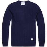 Mki Cashmere Merino Crew Neck Cable Knit Navy
