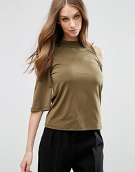 Asos Top With Cold Shoulder Frill Sleeve In Slinky Olive Green