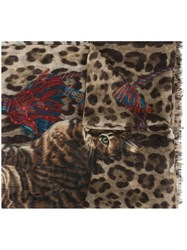 Dolce And Gabbana Kitten Print Scarf Nude And Neutrals