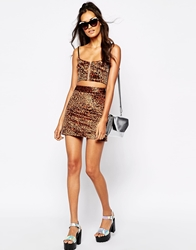 Story Of Lola Festival Mini Skirt In Faux Fur Leopard Print Co Ord Brownleopard
