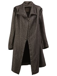 Lost And Found Ria Dunn Asymmetric Zip Up Coat Grey