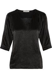 Maje Telly Bead Embellished Satin Top Black