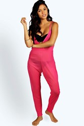 Boohoo Beach Mesh Cami Jumpsuit Pink
