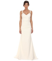 Nicole Miller Tonya Stretch V Neck Gown Antique White Women's Dress