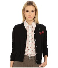 Marc By Marc Jacobs Embroidered Fruits Cardigan Black Multi Women's Sweater