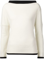 Bouchra Jarrar Boat Neck Sweater White