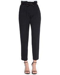 Milly Paperbag Cropped Pleated Trousers Black