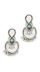 Dannijo Florence Earrings Ox Silver White Turquoise Clea