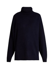 Tibi Oversized Roll Neck Cashmere Knit Sweater Navy