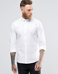 Noose And Monkey Skinny Shirt With Point Collar With Stretch White