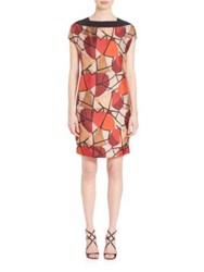Piazza Sempione Short Sleeve Delunay Print Silk Dress Multi