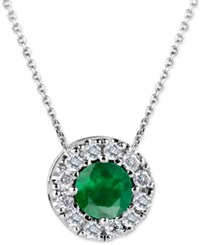 Macy's Emerald 1 2 Ct. T.W. And Diamond 1 6 Ct. T.W. Halo Pendant Necklace In 14K White Gold Green