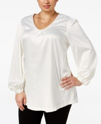 Melissa Mccarthy Seven7 Trendy Plus Size Puff Sleeve Top Off White