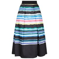 Damsel In A Dress Watercolour Stripe Skirt Black Multi