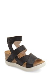 Women's Fly London Leather Wedge Black Leather