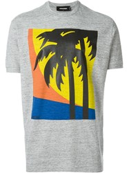 Dsquared2 Palm Tree Print T Shirt Grey
