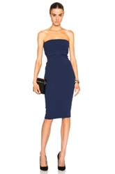Victoria Beckham Matte Crepe Corset Tie Fitted Dress In Blue