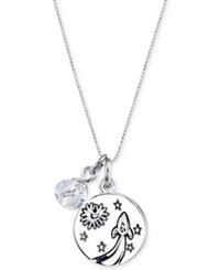 Unwritten To The Moon And Back Crystal And Disc Pendant Necklace In Stainless Steel