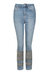 Topshop Moto Limited Edition Stone Encrusted Straight Leg Jeans Mid Stone