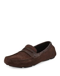 Andrew Marc New York Suede Penny Driving Loafer Chocolate Women's Chocolate Black