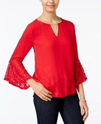 Amy Byer Bcx Juniors' Embellished Bell Sleeve Top Red