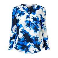 Windsmoor Floral Print Tunic Top Blue Multi