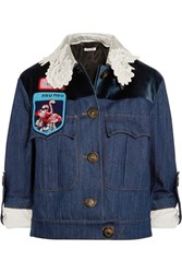 Miu Miu Embellished Velvet Paneled Denim Jacket Mid Denim