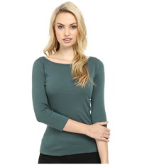 Three Dots 3 4 Sleeve British Tee Forage Women's Long Sleeve Pullover Green