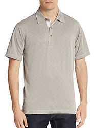 Saks Fifth Avenue Blue Slub Jersey Polo Shirt Taupe