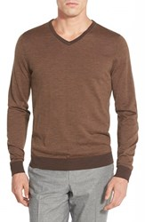 Men's John W. Nordstrom Regular Fit Stripe V Neck Sweater Brown Cub Stripe