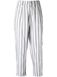 Egrey Striped Cropped Trousers Blue