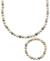 Macy's Pearl Jewelry Set Sterling Silver Multicolor Cultured Freshwater Pearl Necklace And Stretch Bracelet