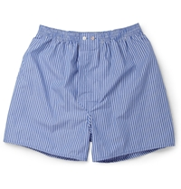 Derek Rose York Striped Cotton Boxer Shorts Blue