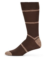 Saks Fifth Avenue Striped Mid Calf Socks Brown