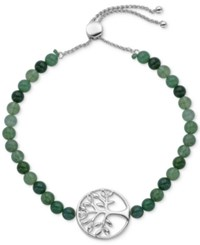 Giani Bernini Green Agate 16 1 2 Ct. T.W. Tree Of Life Slider Bracelet In Sterling Silver Only At Macy's