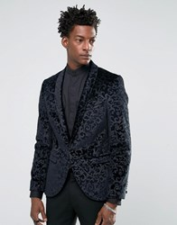 Noose And Monkey Super Skinny Blazer In Floral Velvet With Shawl Lapel Charcoal Grey