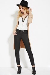 Forever 21 Longline Ribbed Knit Cardigan Tan