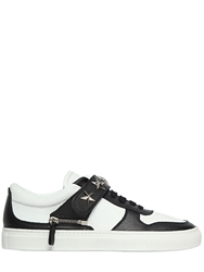 D S De Star Studs On Two Tone Leather Sneakers White Black