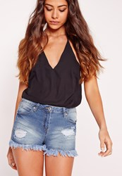Missguided Mid Rise Ripped Shorts Mid Blue Blue