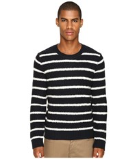 Vince Textured Striped Merino Blend Long Sleeve Crew Neck Sweater Coastal Pearl Men's Sweater Black